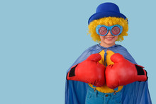Little Boy Super Hero With Boxing Gloves