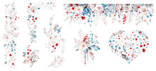 Set Watercolor Design With Roses, Collection Garden Red, Blue Flowers, Leaves, Branches, Botanic  Illustration Isolated On White Background.