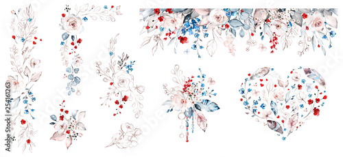 Fotografía  Set watercolor design with roses, collection garden red, blue flowers, leaves, branches, Botanic  illustration isolated on white background
