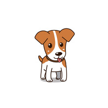 Cartoon Vector Character Cute Jack Russell Terrier Dog For Design.