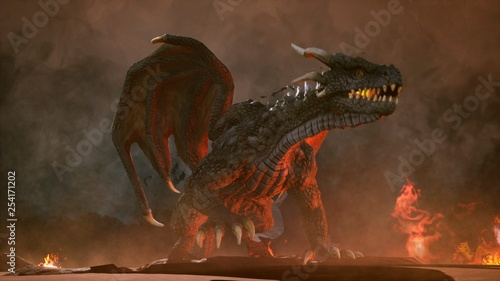 Fotografie, Obraz  A big angry dragon in the desert is fighting off its enemies