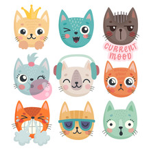 Cute Kittens. Characters With Different Emotions - Joy, Anger, Happines And Others.