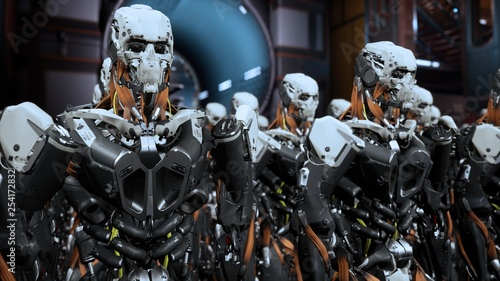 Photo  The camera flies past a detachment of robot soldiers on a spaceship