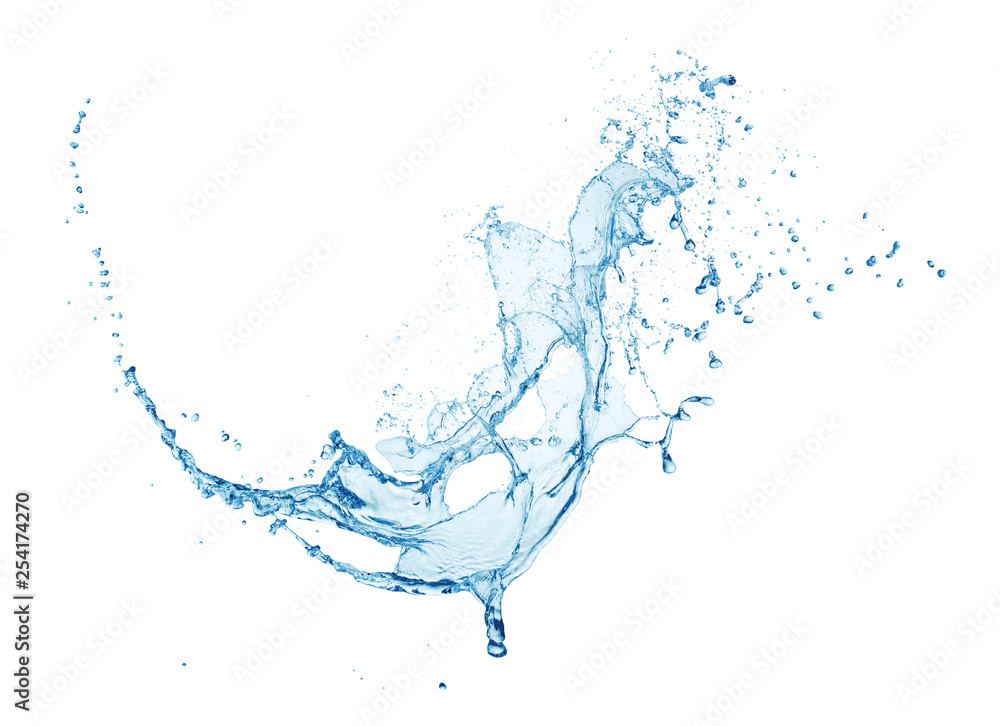 Fototapety, obrazy: blue water splash isolated on white background