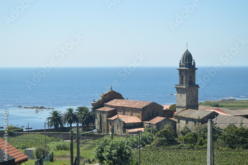 Monastery Of Santa Maria Of The Oia With Views To The Atlantic Ocean. Nature, Architecture, History, Travel. August 16, 2014. Oya, Pontevedra, Galicia, Spain.