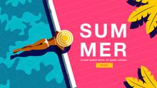 Summer Holiday, Poster , Banner, Sunshine ,Vector Illustration.