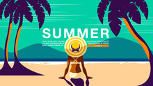 Summer Holiday, Poster Design .Banner, Sunshine , Tropical, Vacation, Vector Illustration.