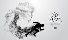 Abstract Silhouette Of A Running Athlete Man On The White Background From Particles, Dust, Smoke. Athlete Runs Sprint And Marathon. Background Can Be Changed To Any Other. Vector Illustration