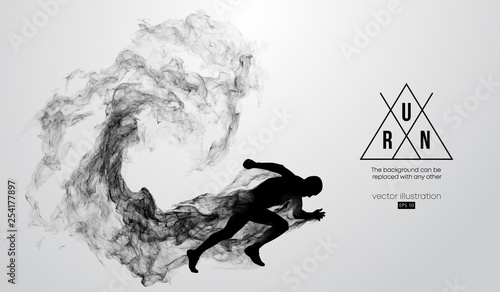 Vászonkép Abstract silhouette of a running athlete man on the white background from particles, dust, smoke