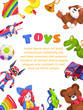Kids toys poster. Kid toy brochure cover design pyramid piano rattle car rabbit duck, flat vector template