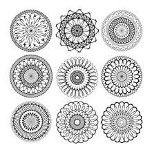 Relax Mandala Set. Abstract Ethnic Model Mandalas Mandalas With Repeat Geometric Circle Round Ornament