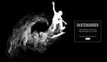 Abstract Silhouette Of A Skateboarder On The Dark Black Background From Particles, Dust, Smoke. Skateboarder Jumps And Performs The Trick. Background Can Be Changed To Any Other. Vector Illustration