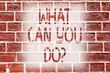 Leinwanddruck Bild - Handwriting text writing What Can You Doquestion. Conceptual photo Service Determination Purpose Worth Contemplation Brick Wall art like Graffiti motivational call written on the wall