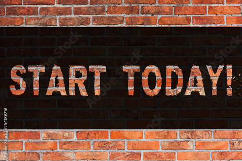 Fotografie, Obraz  Text sign showing Start Today