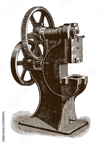 Historic geared pressing machine (after an engraving or etching from the 19th ce Canvas Print