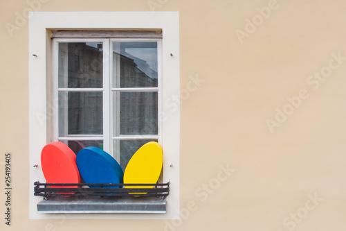 Fotografie, Obraz  easter decoration eggs on building window