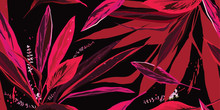 Trendy Floral Seamless Pattern. Pink And Red Leaves On A Black Background. Hand-drawn Vector Illustration.
