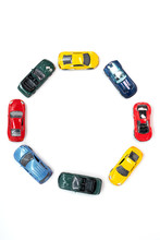 Toy Cars Arranged In A Circle Pattern