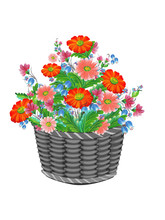 Basket With Daisies, Bluebells, Poppies Flowers Isolated On White Background