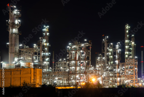 Photo Stands Kuala Lumpur Petrochemical Industrial. Oil refinery and Oil industry at night