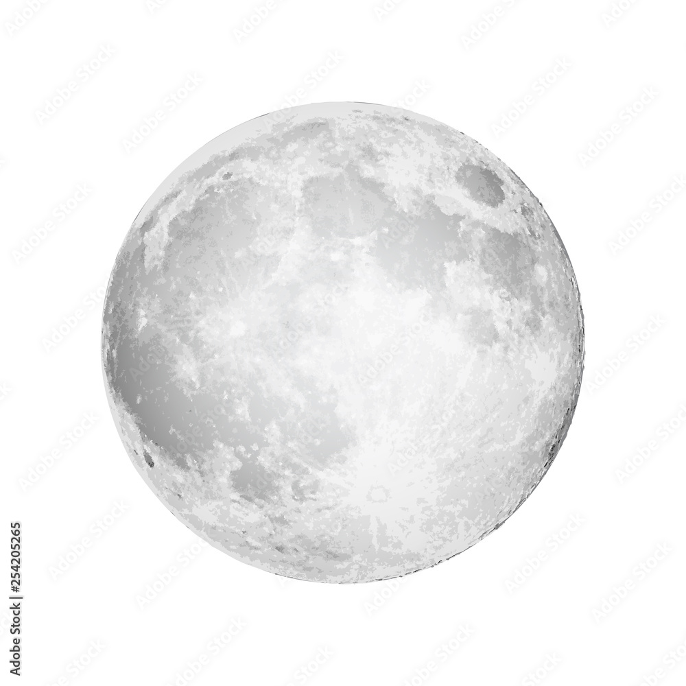 Fototapety, obrazy: Realistic full moon. Astrology or astronomy planet design. Vector.