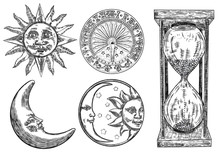 Set Of Sundial, Sun Clock, Hou...