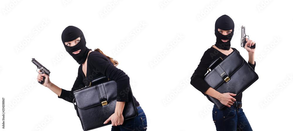 Fototapeta Criminal with gun isolated on white
