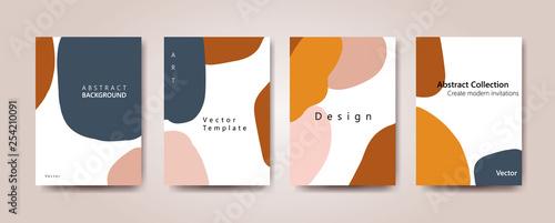 Fototapeta design poster for social media. Background with navy blue and orange  abstract shape obraz