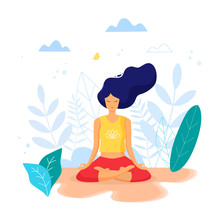 Woman Sitting In Lotus Positio...