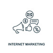 Internet Marketing icon thin line style. Symbol from online marketing icons collection. Outline internet marketing icon for web design, apps, software, printing usage