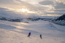 Downhill Skiing In The Sunset ...