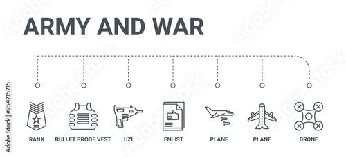 Photo  simple set of 7 line icons such as drone, plane, plane, enlist, uzi, bullet proo