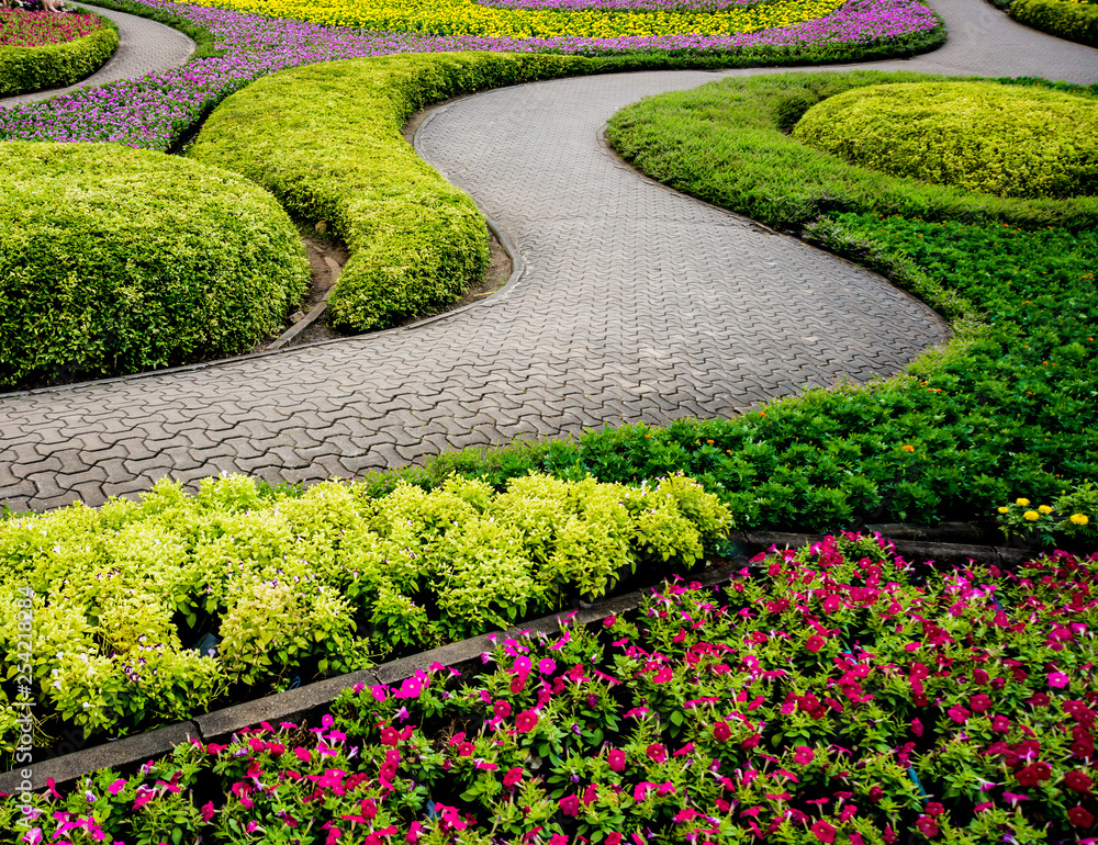 Fototapety, obrazy: Luxury landscape design of the tropical garden. Beautiful view of tropical landscape