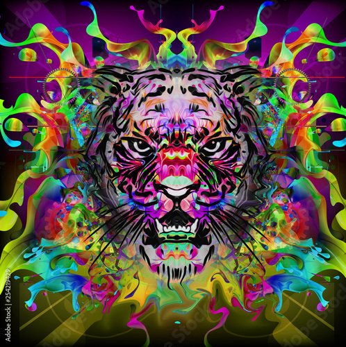 futuristic colorful background with tiger - Illustration