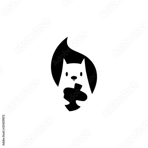 Cuadros en Lienzo squirrel logo vector icon is holding nuts illustration in negative space style