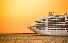 Cruise Liner Ship With Sunset