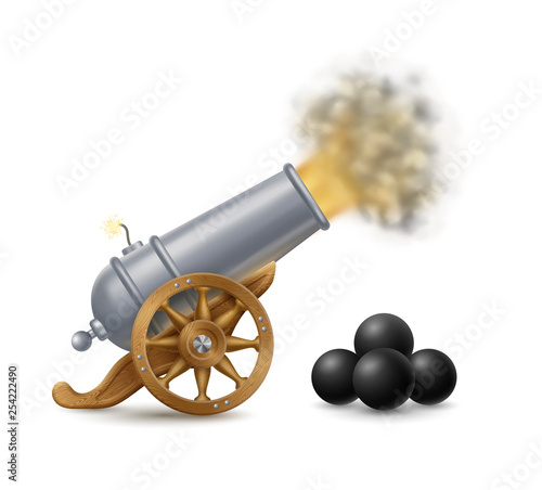 Shooting Cannon and Cannonballs Canvas Print
