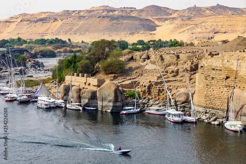 Blick auf die Insel Elephantine in Assuan am Nil in Ägypten Wallpaper Mural