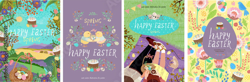 Poster Lavender Happy easter! Set of cute vector illustrations for a poster, card, invitation or banner. Congratulations on the holiday.