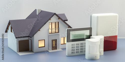 Cuadros en Lienzo  Alarm system and house, 3d illustration