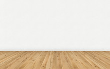 Empty Room With Brown Wooden Floor And Blank White Painted Wall. Empty Loft Room For Design Interior. Long Wide Picture Of Empty Living Space Room.