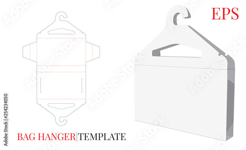 Fotografia Cloths Hanger and Cloths Bag, Paper Cloths Hanger Illustration