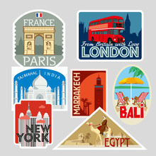 A Set Of Various Tourist Greeting Cards. Cities Of The World. Vector Illustration