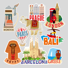 Set Of Travel Stickers. Different Countries And Cities. Vector Illustration