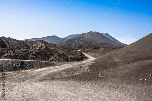 Fényképezés  Mountain road on Etna volcano