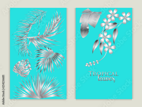 Fototapety, obrazy: Vector tropical set background in silver colors.