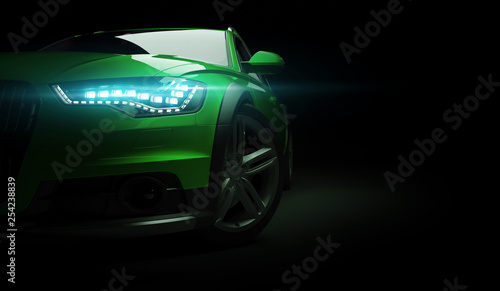 Stylish car on a black background with led lights on. Futuristic modern vehicle head light xenon on dark. 3d render