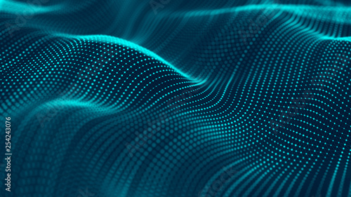 Fotobehang Abstract wave Wave of particles. Abstract background with a futuristic wave. Big data. 3d rendering.