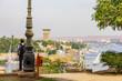 Blick vom Botanischen Garten in Richtung der Insel Elephantine in Assuan am Nil in Ägypten