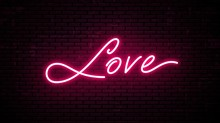 Love, Red Neon Inscription. Ve...